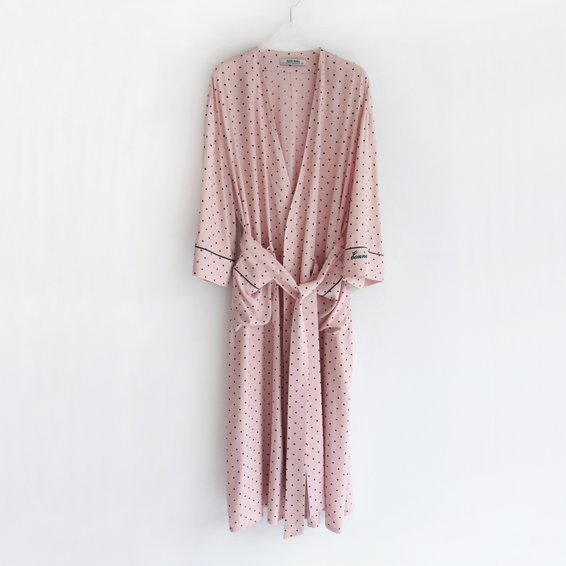 PJM Long Robe (Pink dots)