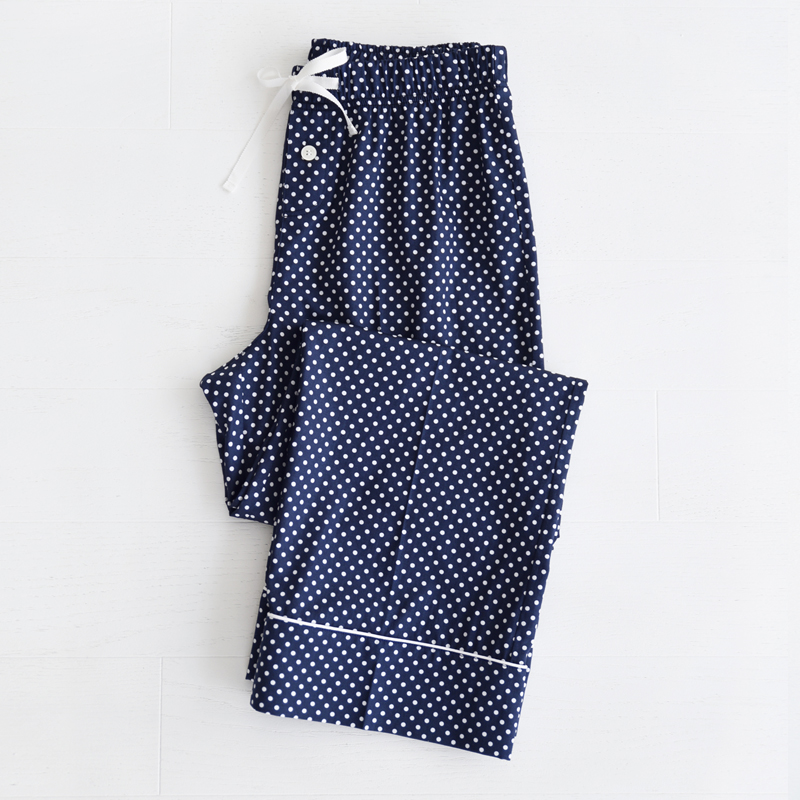 W Piped PJM Pants (Navy dots)