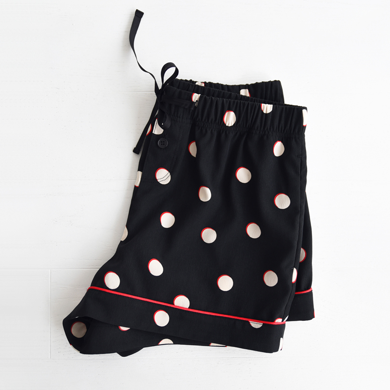 W Piped PJM Shorts (Black dots)