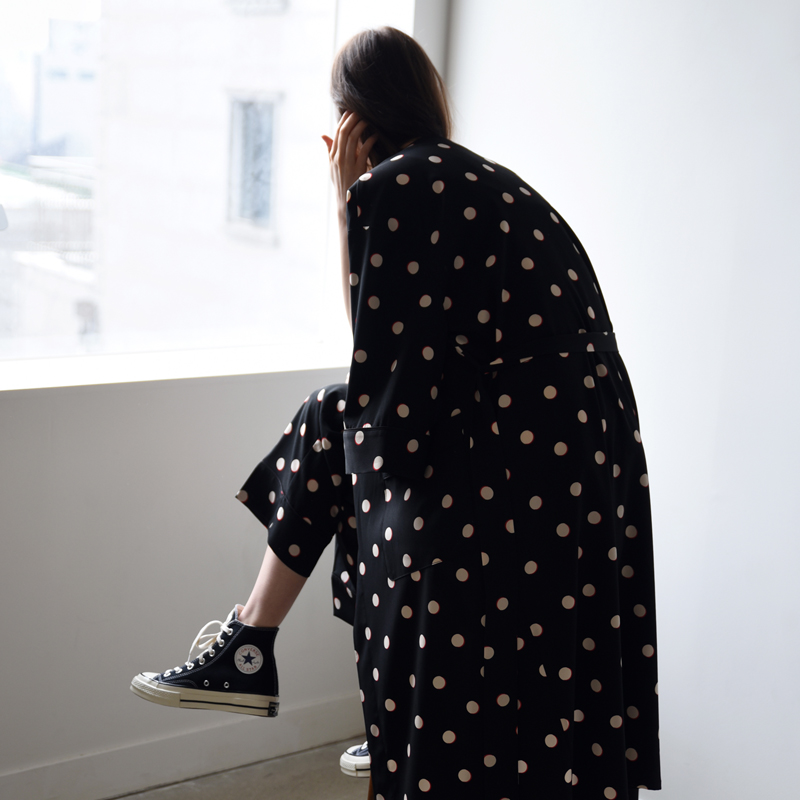 W PJM Long Robe (Black dots)