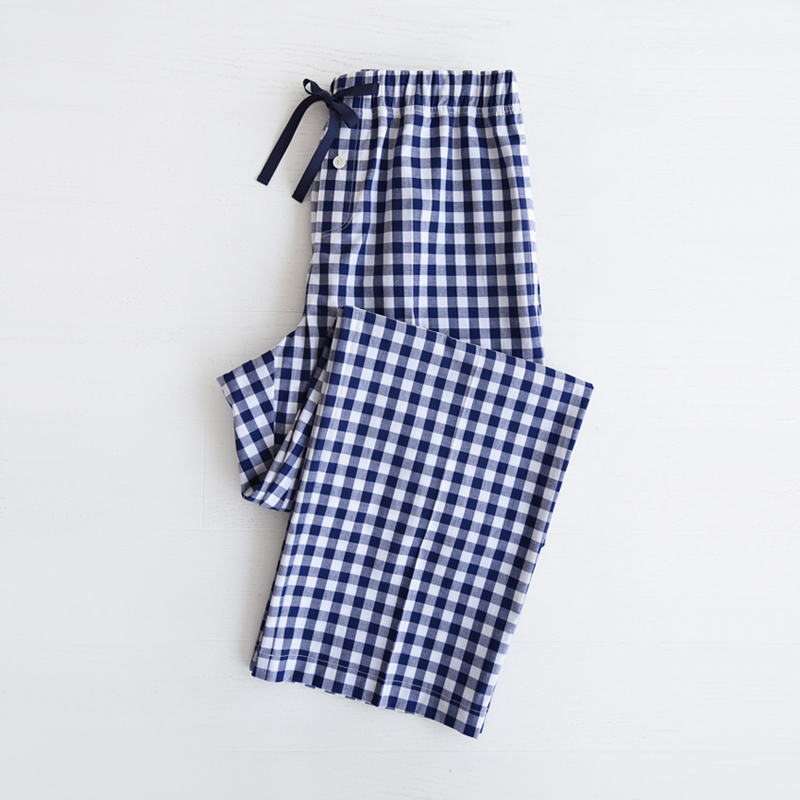 M Piped PJM Pants (Navy check)