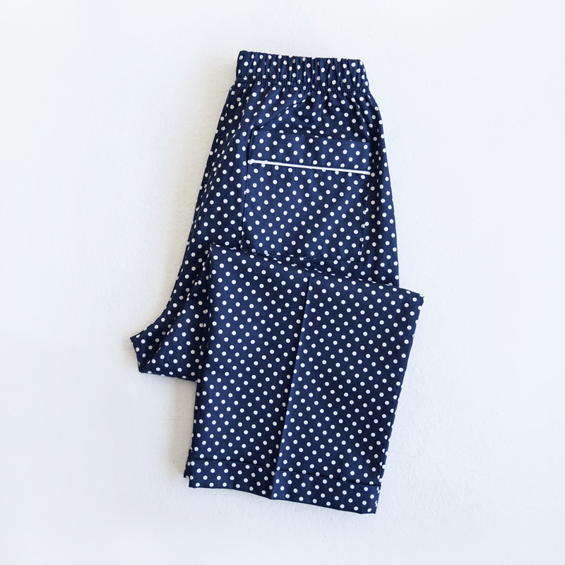 Petit Piped PJM Pants (Navy Dots)