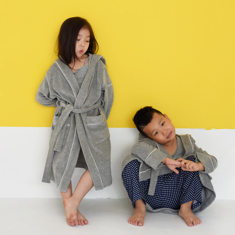 Kids Terry Lounge & Bath Robe (Grey)