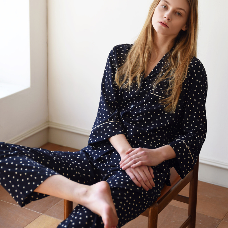W PAJAMA Shirt (Navy dots)