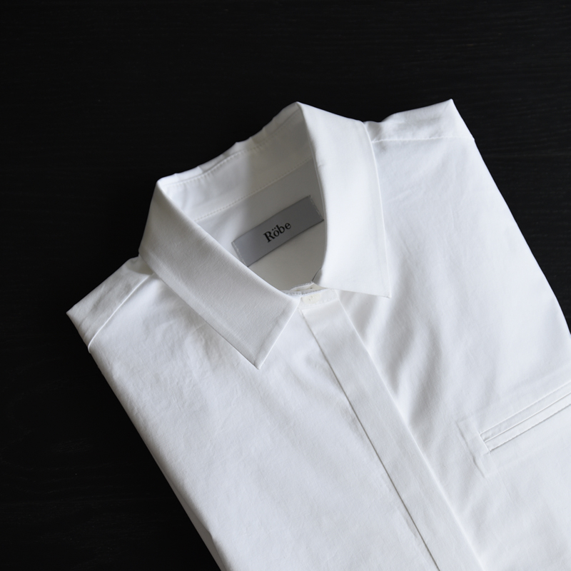 [Robe] Side lace up wide cuffs shirt (White)